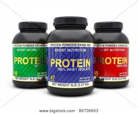Sport nutrition, bodybuilding supplements, diet concept - whey isolate, soy and egg protein jar cans isolated on white background