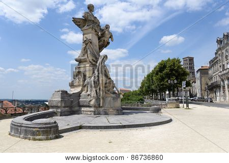 ANGOULEME, FRANCE - JUNE 26, 2013: Monument to Marie Francois Sadi Carnot, 5th President of France. Designed by Raoul Vernet, the monument was opened in 1897