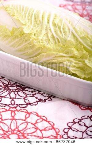 Sliced Cabbage ,shredded Cabbage On The Board. Isolated