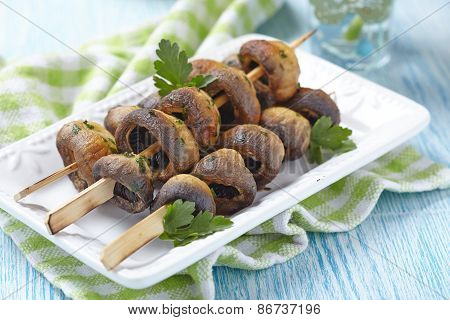 Grilled mushroom with parsley and garlic