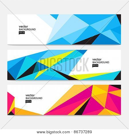 Vector Abstract Geometric Poly Colorful Background. Header set