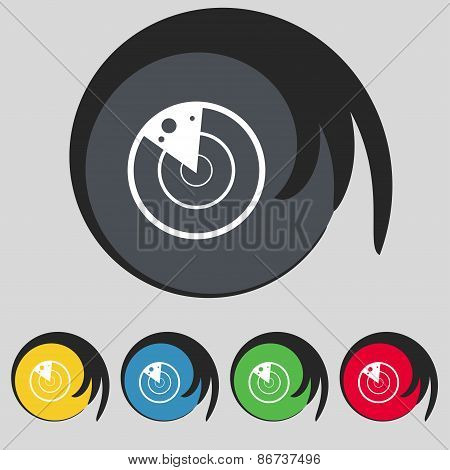 Radar Icon Sign. Symbol On Five Colored Buttons. Vector