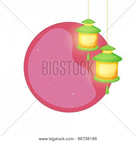 Beautiful greeting card design with hanging illuminates lanterns and shiny pink text space for the wishes on occasion of Islamic holy month of prayers, Ramadan Kareem.