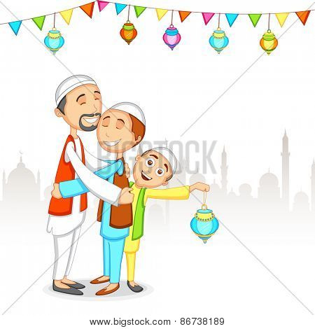 Happy religious muslim family, Father and his son's, Hugging and giving wishes to each other on the occasion of Islamic holy month of prayers, Ramadan Kareem.