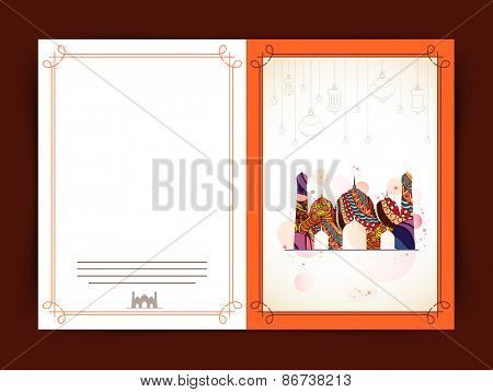 Greeting card decorated by colourful mosque on brown background for Islamic holy month of prayers, Ramadan Mubarak.
