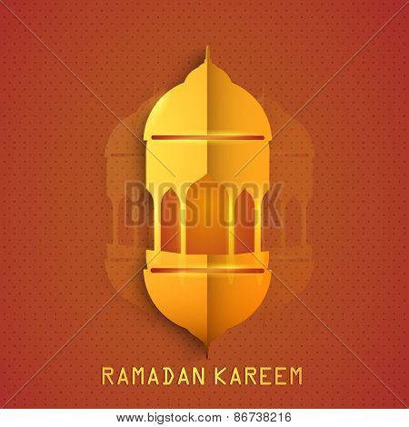 Golden mosque, Two fold paper illustrations on orange background for Islamic holy month of prayers, Ramadan Kareem.