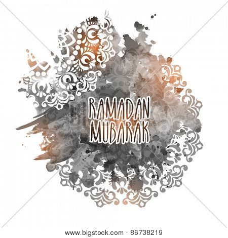 Beautiful text Ramadan Mubarak (Wishes for the Islamic month of prayers, Ramadan) on artistic floral decorated background.