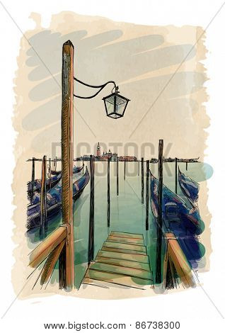 Venice. Quay Piazza San Marco. Gondolas on the water