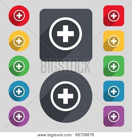 Plus, Positive, Zoom Icon Sign. A Set Of 12 Colored Buttons And A Long Shadow
