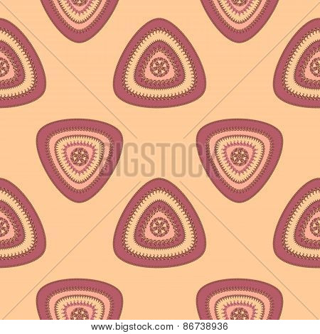 Abstract Seamless pattern with triangle in beige lilac