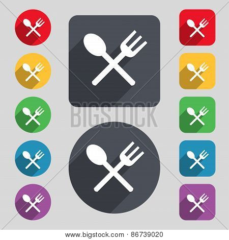 Fork And Spoon Crosswise, Cutlery, Eat Icon Sign. A Set Of 12 Colored Buttons And A Long Shadow