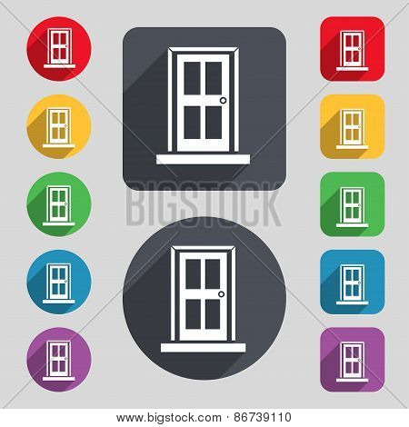 Door Icon Sign. A Set Of 12 Colored Buttons And A Long Shadow