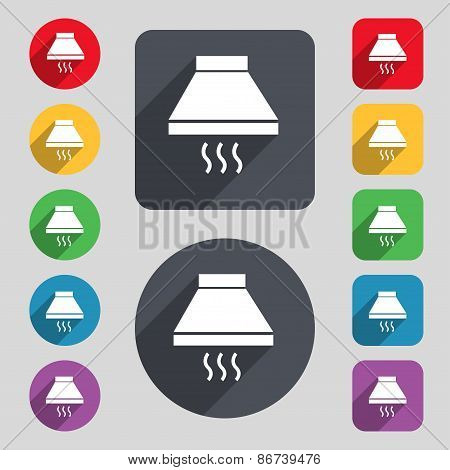 Kitchen Hood Icon Sign. A Set Of 12 Colored Buttons And A Long Shadow