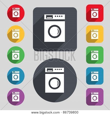 Washing Machine Icon Sign. A Set Of 12 Colored Buttons And A Long Shadow