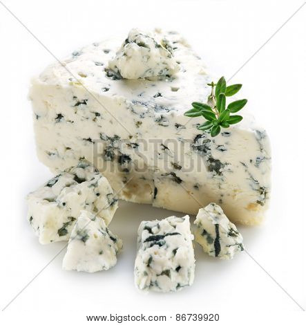 Slices of Danish Blue cheese on white background.