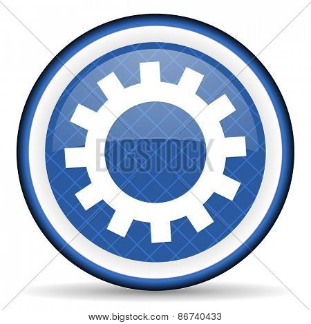 gears blue icon options sign