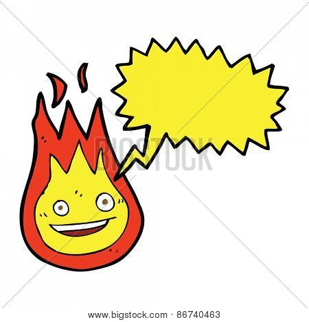 cartoon friendly fireball with speech bubble