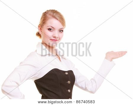 Ad. Businesswoman Showing Blank Copy Space