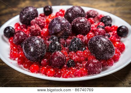 close-up of frozen berries in plate