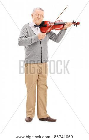 Full length portrait of a senior musician playing a violin with a wand isolated on white background