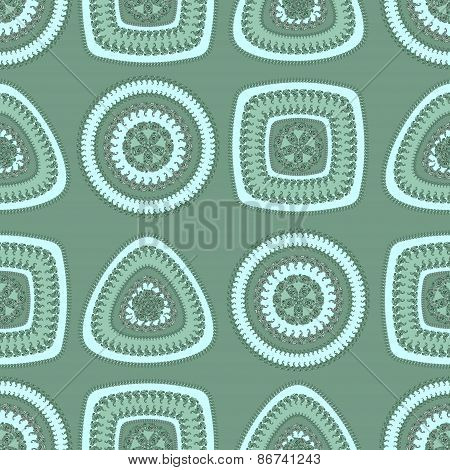 Seamless pattern with circle triangle square in marine blue
