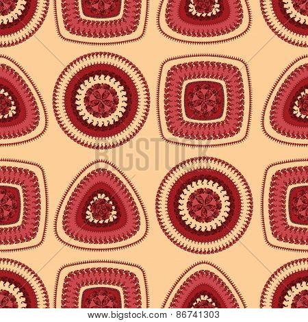 Seamless pattern with circle triangle square in red beige