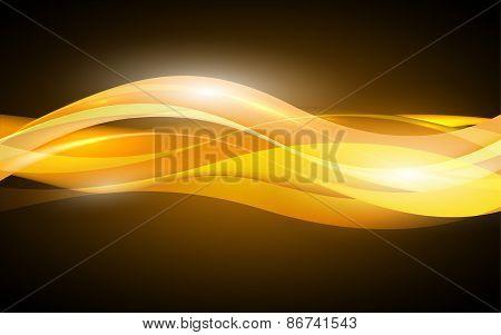 Abstract Orange Waves - Data Stream Concept. Vector