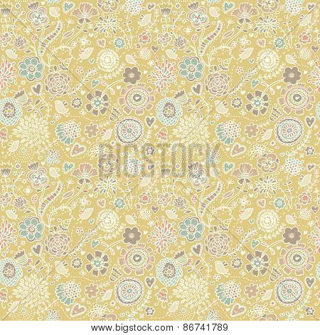 Lovely spring seamless pattern. Floral background in vector