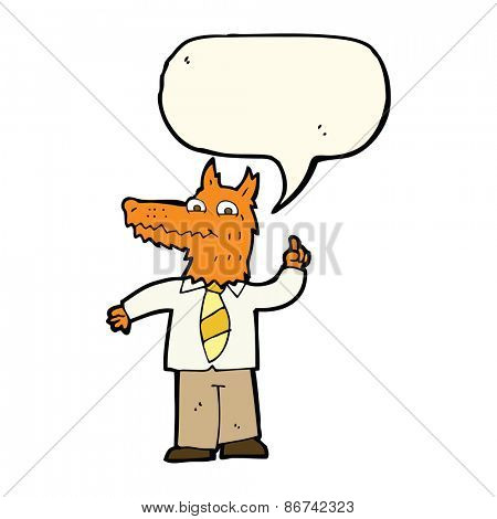 cartoon business fox with idea with speech bubble
