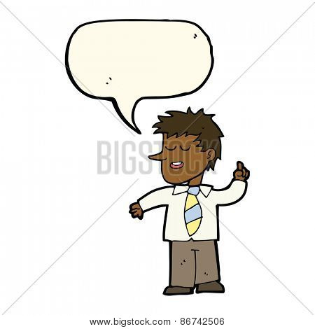 cartoon man with good idea with speech bubble