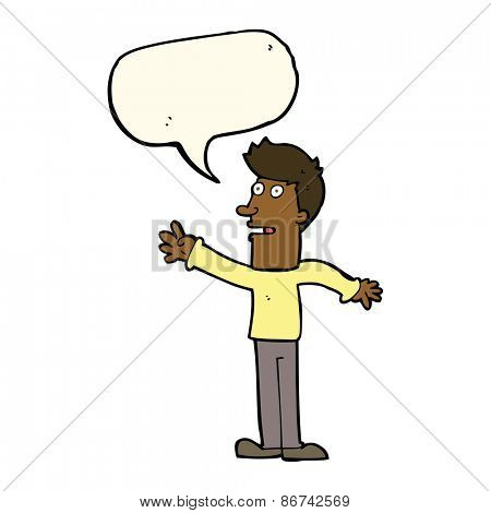 cartoon man reaching with speech bubble