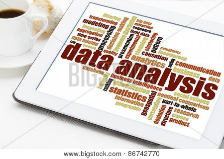 data analysis word cloud on a digital tablet with a cup of coffee