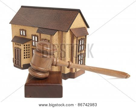 Property offered for sale by a court isolated on white background