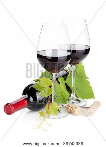 Red wine bottle and glasses. Isolated on white background
