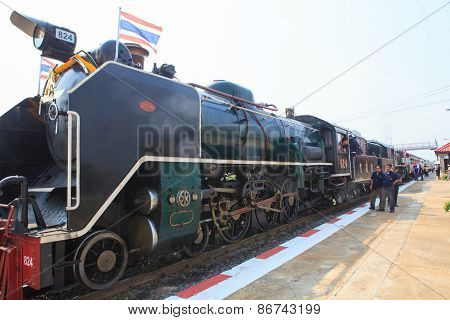 Ayuthaya Thailand -mar28 : Thai Locomotive Trains Parking And Preparing To Special Trip To Ayuthaya