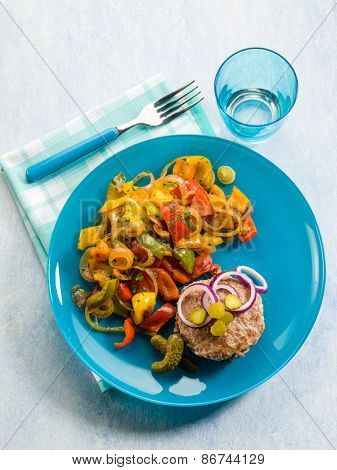 hamburger with capsicum salad