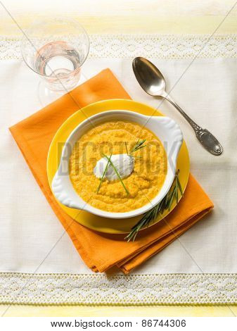 pumpkin soup with ricotta and chive