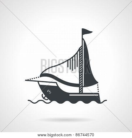 Sailing yacht black vector icon
