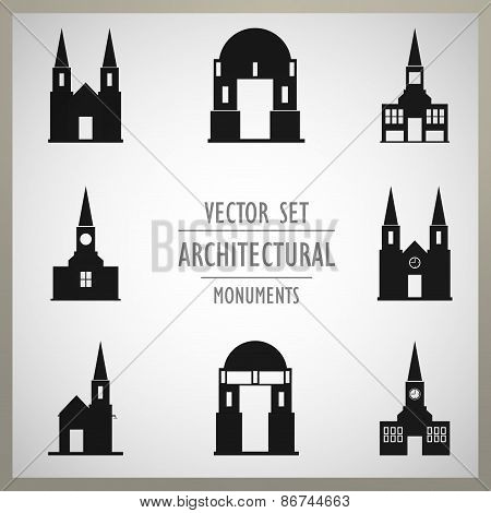 Set of vector architectural monuments old Europe