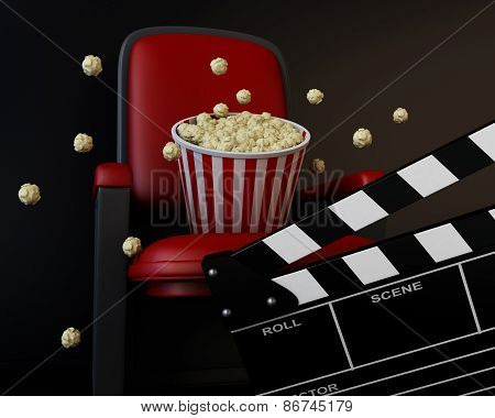 3d Cinema clapper board and popcorn