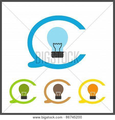 Simple stylish icon bulb. Vector electro design