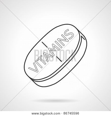 Black line vector icon for vitamins tablet