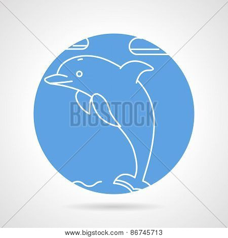 Round vector icon for dolphin
