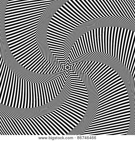 Rotation movement. Abstract op art design. Vector art.