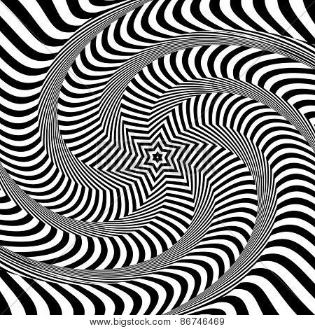 Torsion and rotation movement. Op art design. Vector art.