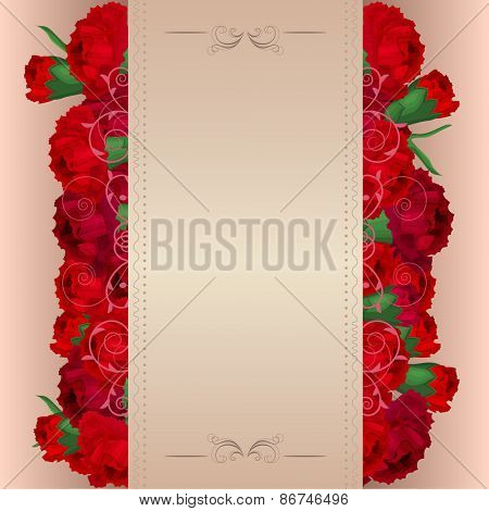 Beige background with red carnations
