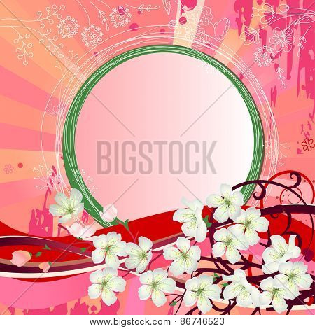 Pink background with blossoming branch of tree