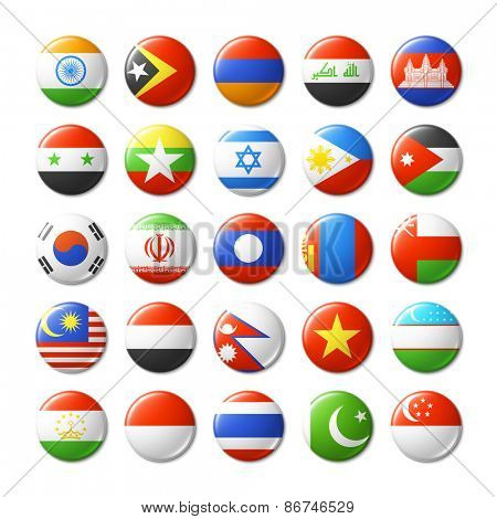 World flags round badges. Asia. Vector illustration.