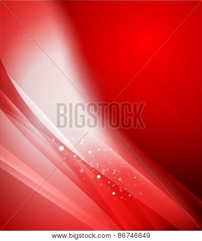 Color red and light, waves and lines. Abstract background