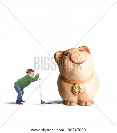Piggy bank child